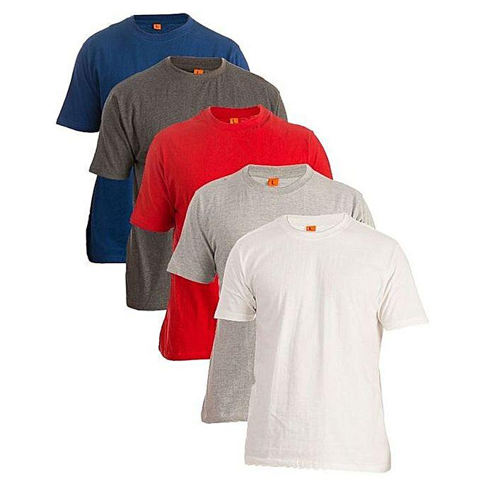 Pack of 5 Plain Round Neck T-Shirts Price in Pakistan