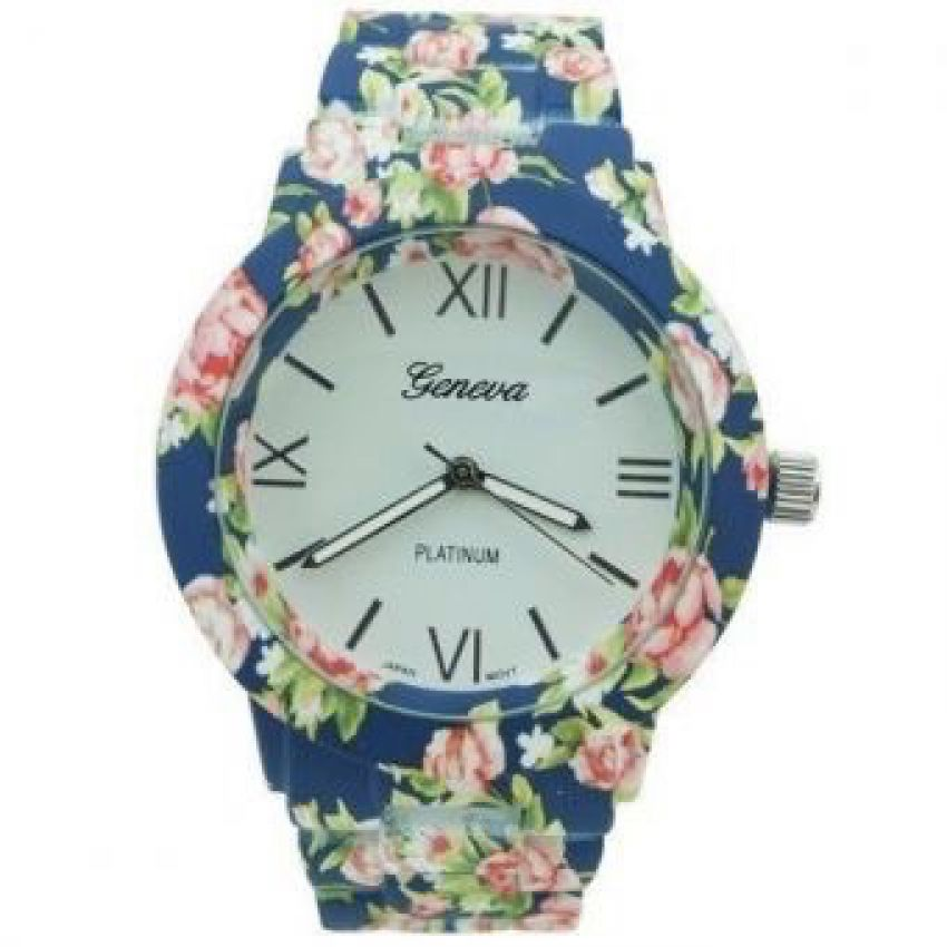 Blue Floral Watch Geneva in pakistan