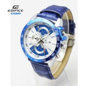 Casio Edifice With Date Blue Leather Belt & Master Lock Watch For Men in Pakistan