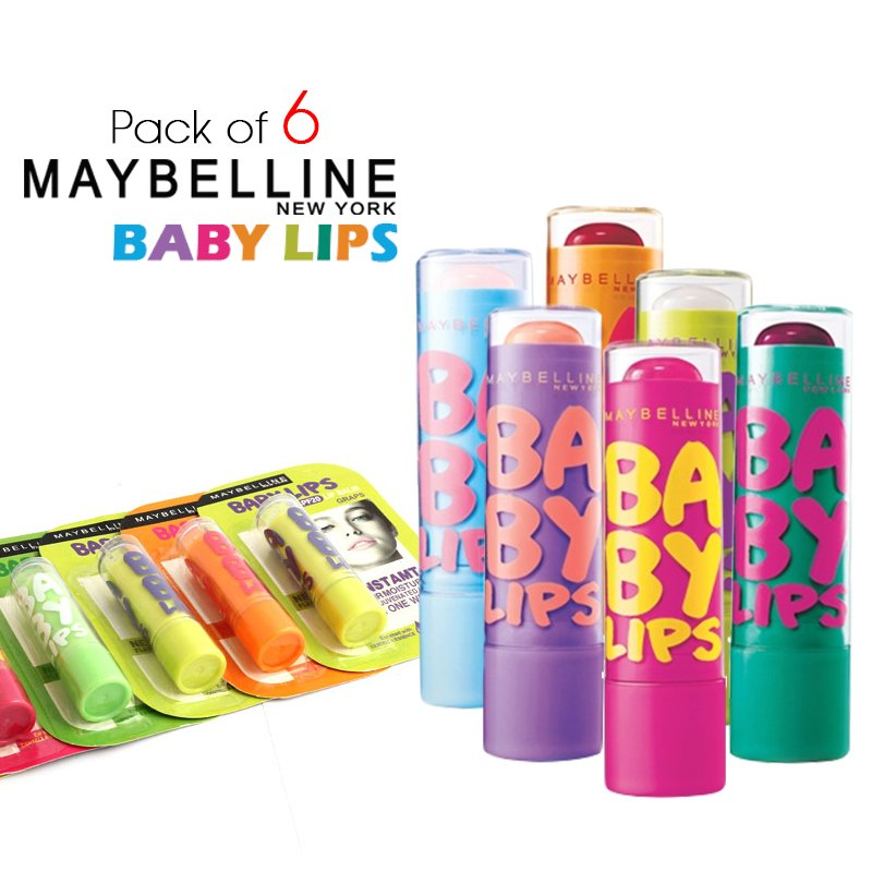 Pack of 6 Maybelline Baby Lip Balms